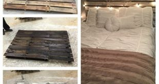 I stumbled across this awesome DIY bed headboard made from old wood pallets! Kel...