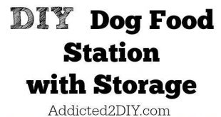 Download the free plans and tutorial for this DIY Dog Food Station with Storage ...